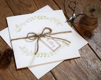 Rustic Wedding Invitation, Willow folded wedding invitation