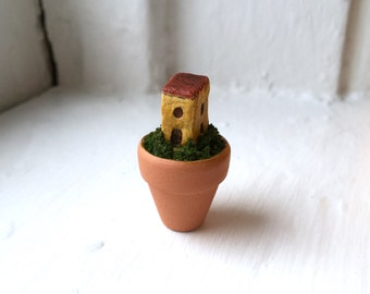 Potted House - Tiny clay building in a tangle of growth