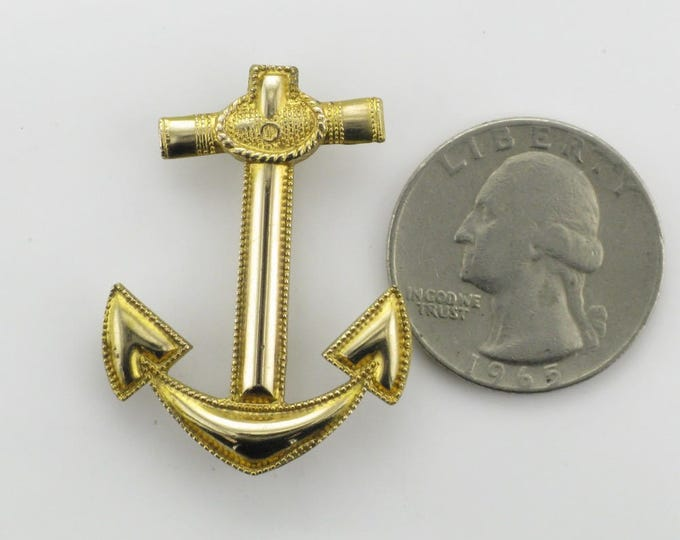 Gold Filled Anchor Pin; Vintage Anchor Pin; Hallmarked Anchor Pin; Anchor Pin