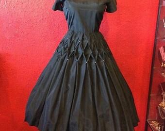 1950s Black Taffeta Dress Accordion Pleats Rhinestones Small