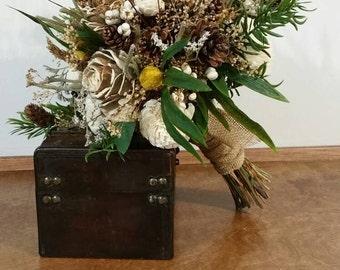 Wedding Bouquet, Sola wood Bouquet, Woodland ivory Bouquet, Bridal boho Bouquet, Sola flowers, Alternative Bouquet, Rustic , ready to ship
