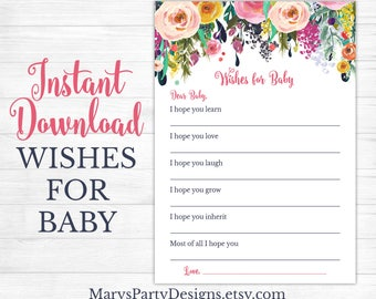 Wishes For Baby Baby Shower Game Keepsake Insert - Girl Spring Flowers Floral Blush Pink Navy Teal Wishes Printable Instant Download