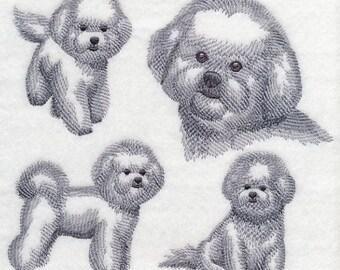 Bichon Frise Dog Embroidered Quilt Block Square Dog Sketch