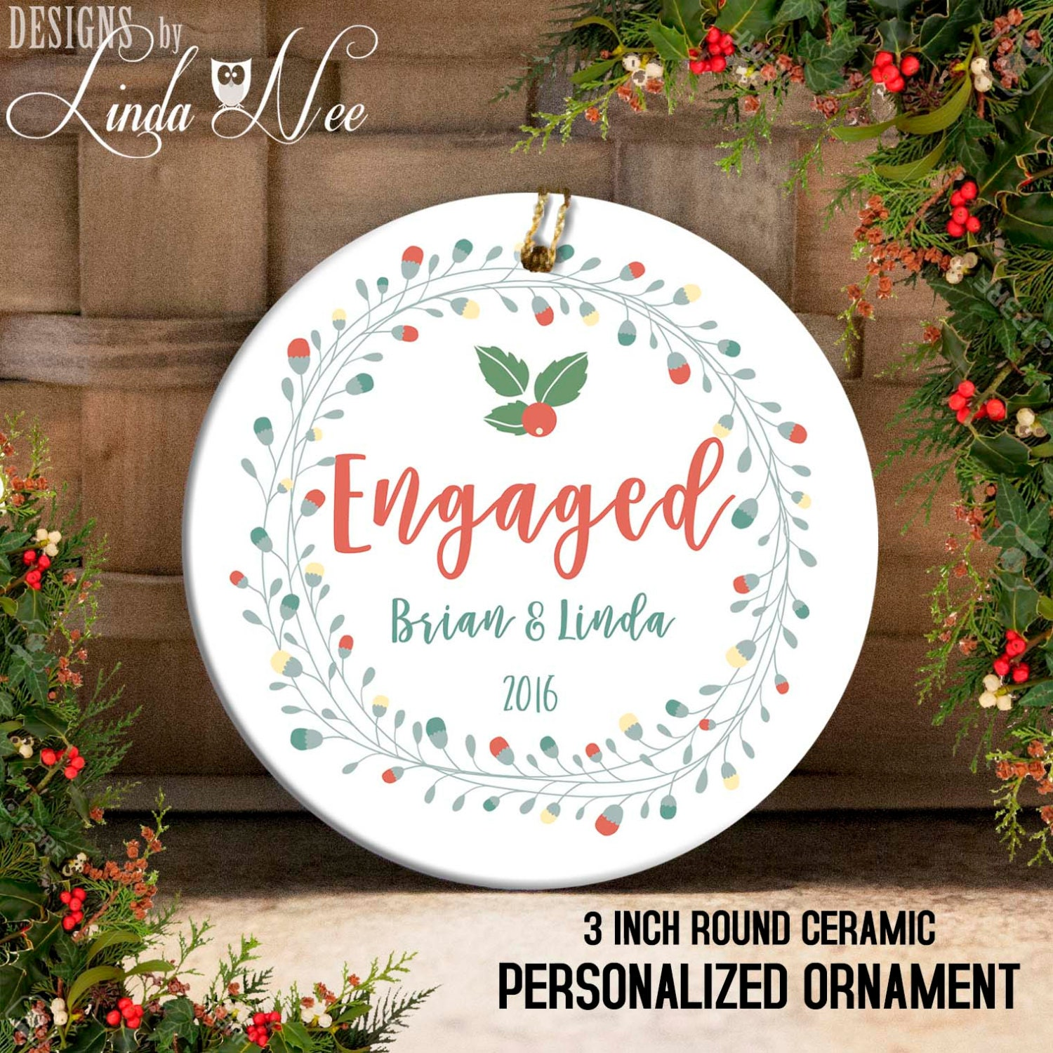 Engagement Christmas Ornament Just Engaged Ornament Mr and