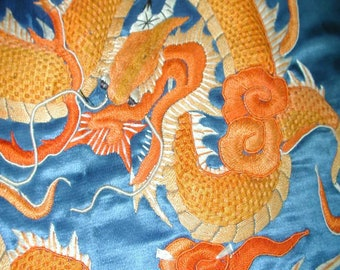 "No. 200 A VIBRANT and Unique Antique, Vintage Chinese Dragon; Hand Embroidered 18x23"" (fabric width)"