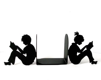 Pair Vtg BOOKENDS Boy  Girl Reading Figures 13x7 HEAVY Quality Detailed Laser Cut Thick Folded Matte Black Powdercoat STEEL Books Ex Cond