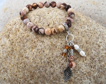 Peanut Jasper 8mm Stretchy Bracelet with Long Dangle Accent Charms