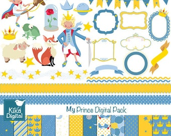 My Prince Digital Clipart and Paper Bundle - Scrapbook , card design, invitations, stickers, paper crafts, web design - INSTANT DOWNLOAD