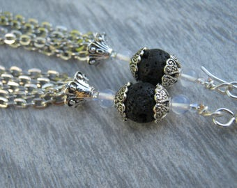 "Lava Stone Tassel Earrings, Extra LONG Gemstone Earrings, 4"" Opalite Tassel Earrings, Boho Vegan Dangle Earrings, Antiqued Silver, TE13"