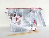 Zipper knitting bag, Wide mouth wedge project bag, Crochet bag - Snowmen in Winter in 2 sizes