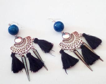 STATEMENT EARRINGS, tassel earrings, BLUE earrings, blue agate, spikes earrings, black tassels, maximal earrings, avant garde, soft grunge