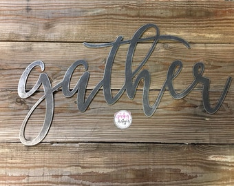 Gather Metal Sign | 2 FT | Metal Gather Sign | Metal Gather Word | Dining Room Decor | Gallery Wall Decor | Gather