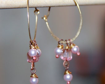 Boho Pink Earrings, Gold Hoop Earrings With Beads. Pink Earrings. Czech Pink Earrings, Czech Pink Glass Jewelry Gift for Her