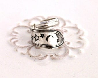 Spoon Ring - Spoon Jewelry - Hand Stamped with Sun, Moon Stars - ROSEMARY 1919 - Made In Usa - Size 7