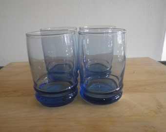 Blue Juice Glasses Charming Set of Four Vintage Small Glass Colored Bell Aquamarine Azure