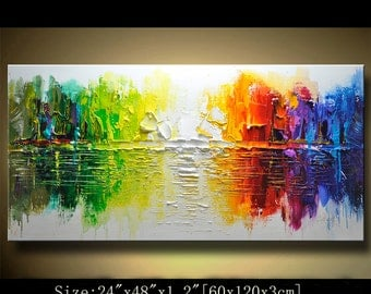 contemporary wall art,, Modern Textured Painting,Impasto  Landscape  Textured Modern Palette Knife Painting,Painting on Canvas by Chen 0214