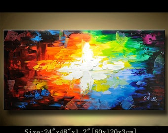 Abstract Wall Painting, expressionism Textured Painting,Impasto Landscape Painting  ,Palette Knife Painting on Canvas by Chen 0407