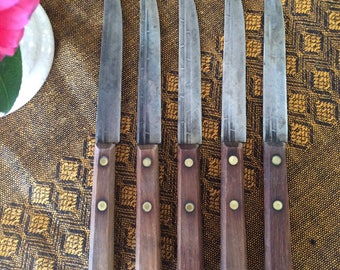 Vintage 50s Steak Regent Knife Set High Carbon Steel Oak Wood Handles Patina Colombia Knives