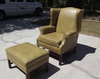 Ethan Allen Wingback Chair and Ottoman Vintage