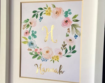 Custom Monogram Gold Foil Nursery Name Print Watercolor Flowers Pink and Gold Wall Art Real Gold Foil Name Personalized Baby Gift 8x10