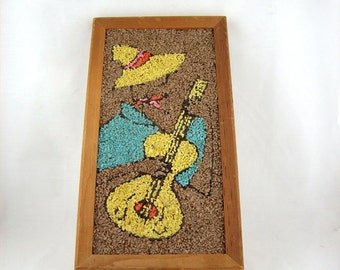 Mid Century Gravel Art Guitar Player Wall Hanging, 1960s