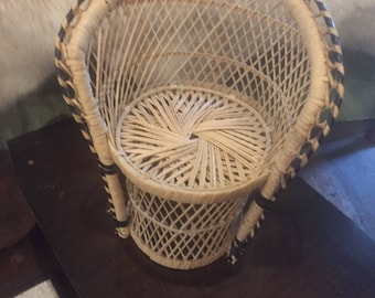 Vintage rattan bohemian miniature chair plant stand wicker succulents free shipping