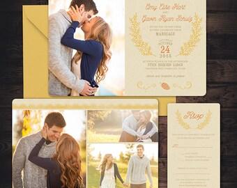 Fall Photo Wedding Invitation - Custom Wedding Invitation Set, engagement photos, pretty paper, LDS weddings, Fall Photo cards, rustic