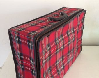Vintage Collapsible Tartan suitcase 1960's 1970's