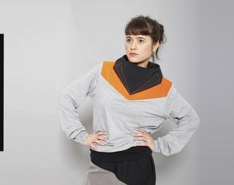 Sweater/Futuristic Sport luxe/ Urban sport/ Top/ UV orange
