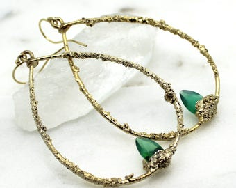 onyx earrings, green onyx, emerald earrings, hoop earrings, palm leaf, tropical jewelry, druzy earrings, gold earrings, gold hoops