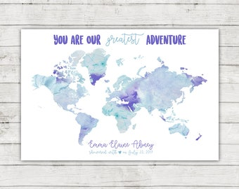 Baby Shower World Map Guest Book, You Are Our Greatest Adventure, Digital File, Printable, Travel Themed Shower, Showered With Love