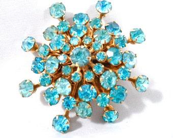 Vintage Aqua Blue Rhinestone Starburst Brooch Gold Tone Riveted Setting Austrian Crystal Brooch