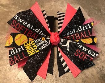 Softball bow - softball ponytail - softball pony o - softball hair bow - softball hair tie - softball ribbon - hair streamers - NEON Pink