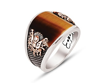 925 Sterling Silver Tigers Eye Men Ring...Express Delivery