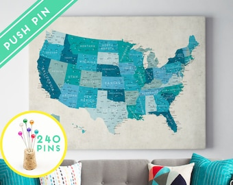 Push Pin Canvas USA States Map - Ready to hang - Gift Idea Pin It , 240 Pins included
