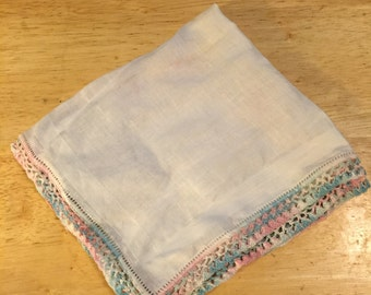 White Linen Handkerchief with Pink and Blue Trim