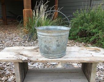 Vintage Metal Bucket, Galvanized, Rustic, Primitive, Metal, Farmhouse Decor, Pail, Rustic, Home Decor, Garden Tools, Water Bucket
