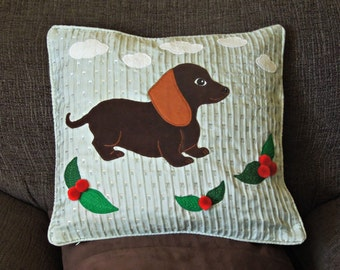 "Dog pillow, cushion cover, handmade, applique ""Cute Little Dachshund"", sausage dog"