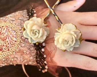 Ivory Cream Rose Bridal Hair Pins Jewelry Decorative 1930 1940 Celluloid Champagne Bobby Pins