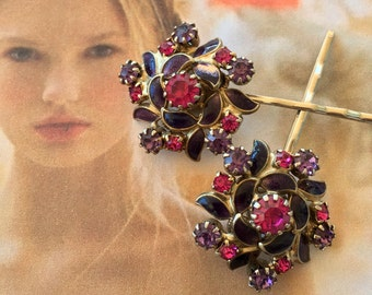 Purple Amethyst Enamel Bridal Hair Pins Jewelry 1940 1950 Hot Pink Rhinestone Bobby Hair Pins Pinwheel Flower Decorative