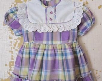 ON SALE Vintage Little Girls Dress, Plaid, Purple, Chartreuse, Green, Eyelet Lace, Ruffled, Baby Girl, Toddler, Spring, Summer, Cotton, Mach
