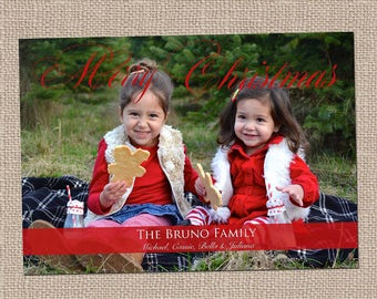 Red Merry Christmas Photo Card-Holiday Card- Christmas Card