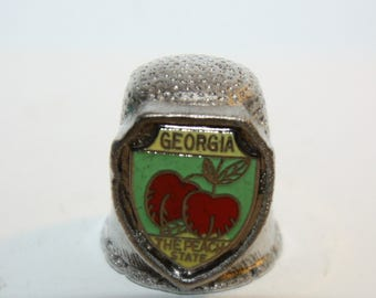 Vintage Pewter Silver Tone Metal Thimble, Georgia, The Peach State,  sewing, collectible, souvenir, Great Addition to Any Collection