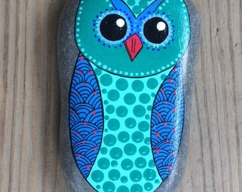 Happy Rock - Blue Turquoise OWL - Hand-Painted River Rock