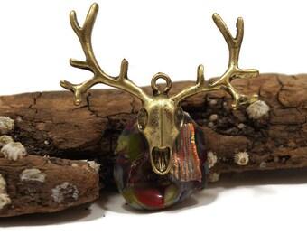 Fused Glass Deer Skull Pendant, Hunter Pendant, Halloween Pendant, Skull Necklace, Deer, Deer Antlers, Dichroic Charm Pendant, Large charm