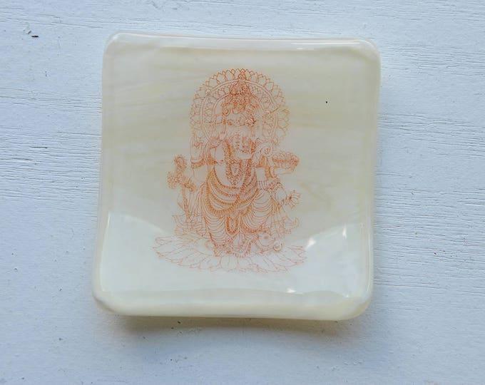 Ivory Ganesh/Ganesha Mini Fused Glass Dish
