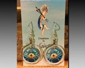 Blue Crab Charm Loop Earrings