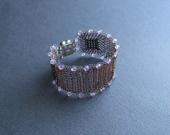Wide Cuff Bracelet - Copper &Silver Wire Crocheted Bracelet with Pink Crystals - Elegant Lacy Unique Delicate Bracelet. Made to order
