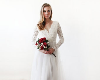 Ivory tulle and lace long sleeves wedding gown, Tulle and lace bridal gown, Tulle wedding empire dress 1125.