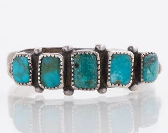 Turqouise Ring - Vintage Native American Sterling Silver Turquoise Ring